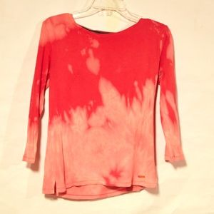 Tie Dye Zipper Ellen Tracy Cotton Shirt Medium